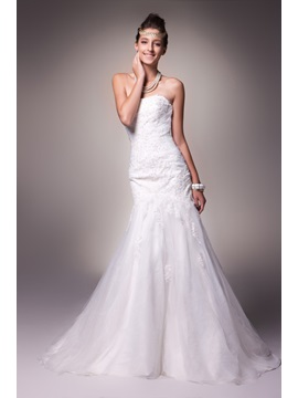 Sexy Trumpet Mermaid Strapless Embroidery Sweep Alices Wedding Dress