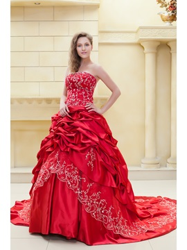 Fabulous Ball Gown Embroidery Sweetheart Sleeveless Elas Color Wedding Dress