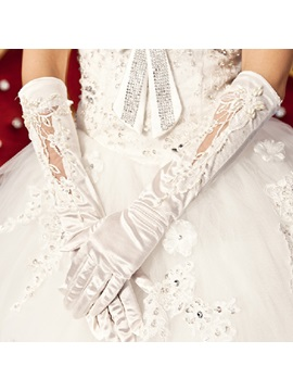 Fabulous Half Long Laciness Wedding Bridal Gloves