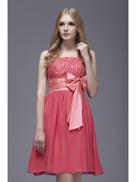 Spaghetti Straps Short Bowknot Sashas Sweet 16 Dress