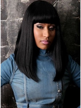 African American Hairstyle Long Straight Shining Wig 100 Human Hair About 15inchess