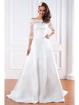 Gorgeous A Line 3 4 Length Sleeves Bateau Floor Length Court Appliques Renatas Wedding Dress