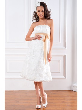 Spectacular Empire Strapless Sash Lace Tea Length Renatas Wedding Dress