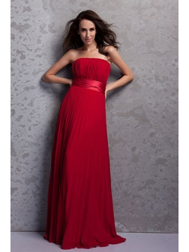 Elegant A Line Pleats Strapless Empire Waist Floor Length Renatas Bridesmaid Dress