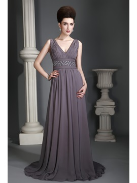 V Neckline Floor Length Zipper Up Brush Train Alexs Mother Evening Dress