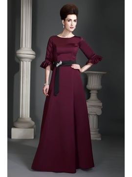 A Line Jewel Neckline Half Sleeves Floor Length Alexs Mother Of The Bride Dress