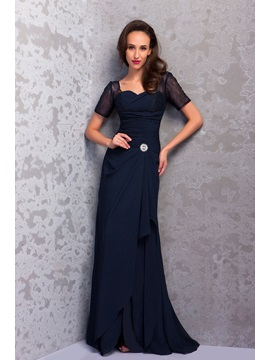 Graceful Sheath Floor Length Short Sleeves Renatas Mother Of The Bride Dress