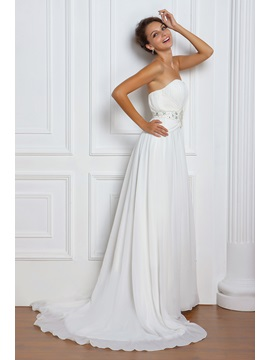 Amazing Empire Sweetheart Floor Length Court Beaded Miriamas Wedding Dress