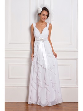 Romantic Empire Straps Floor Length Ruffles Renatas Wedding Dress