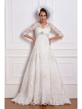 Empire 3 4 Length Sleeve V Neck Lace Renatas Wedding Dress