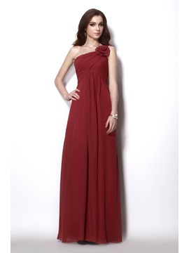 Charming Empire One Shoulder Floor Length Sleeveless Natilies Bridesmaid Dress