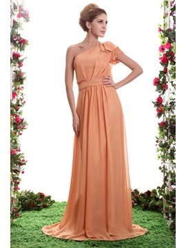 Graceful A Line Ruffles One Shoulder Floor Length Sashas Bridesmaid Dress