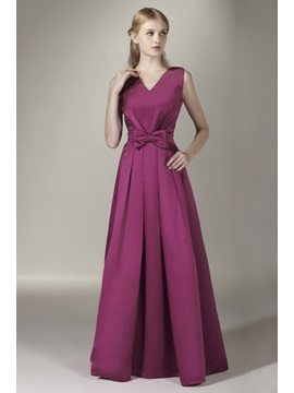 Enchanting Bowknot A Line V Neck Floor Length Sashas Bridesmaid Dress