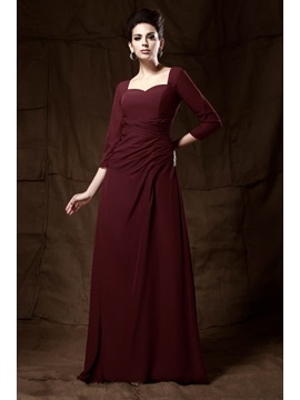 Elegant A Line Floor Length 3 4 Length Sleeves Sweetheart Talines Mother Of The Bride Dress