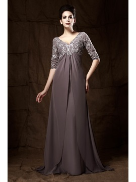 Graceful Appliques A Line V Neck Half Sleeves Floor Length Talines Mother Of The Bride Dress