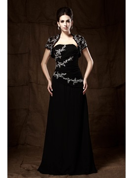 Graceful Sequins Beaded A Line Strapless Floor Length Talines Mother Of The Bride Dress With Jacket Shawl