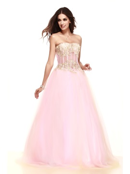 Brilliant Strapless Appliques A Line Floor Length Talines Prom Dress