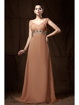 Graceful Empire Waist Beaded V Neck Straps Long Talines Mother Of The Bride Dress