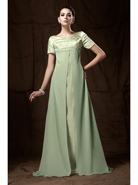 A Line Short Sleeves Floor Length Embroidery Talines Mother Of The Bride Dress