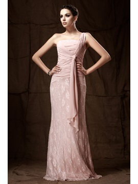 Sexy Lace Sheath Column One Shoulder Floor Length Talines Mother Of The Bride Dress