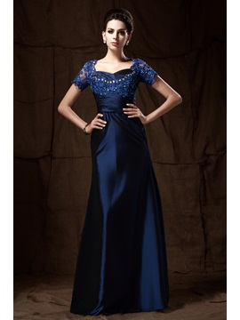 Elegant A Line Appliques Beading Short Sleeves Floor Length Talines Mother Of The Bride Dress