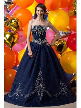 Exquisite Strapless Embroidery Sequins Floor Length Maria Anastasias Ball Gown Dress