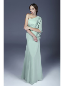 Enchanting Ruched Sheath Column One Shoulder Floor Length Aleksanders Bridesmaid Dress