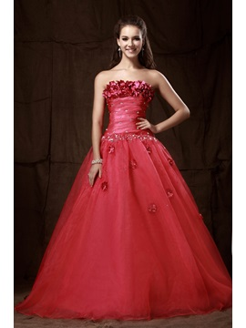 Brilliant A Line Strapless Empire Flowers Sequins Lace Up Long Sandras Prom Quinceanera Dress