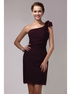 Hot Selling Short Mini One Shoulder Sheath Flowers Sandras Bridesmaid Dress