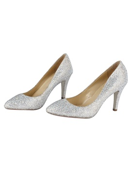 High Quality Suede Upper Closed Toe Stiletto Heel Wedding Shoes