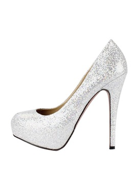 Shining Pu Upper Stiletto Heels Closed Toe Wedding Shoes