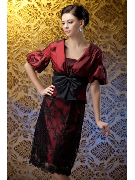Lace Sheath Knee Length Bowknot Polinas Mother Of The Bride Dress With Jacket Shawl