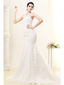 Graceful Lace Trumpet Mermaid Bateau Floor Length Trimmed Julianas Wedding Dress
