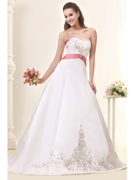 Fabulous A Line Princess Strapless Embroidery Chapel Sandras Wedding Dress