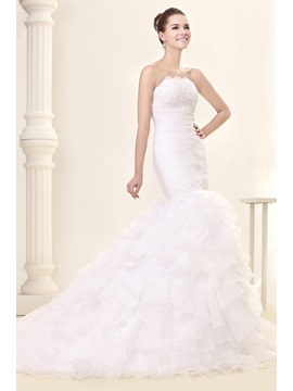 Amazing Court Train Trumpet Mermaid Slim Sweetheart Ruffles Fall Sandras Wedding Dress