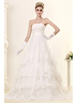 Gorgeous A Line Strapless Chapel Trian Tiered Dashas Wedding Dress