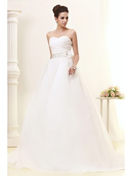 Luxurious Ball Gown Sweetheart Court Train Bowknot Talines Wedding Dress