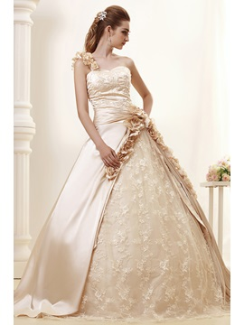 Elegant Ball Gown One Shoulder Royal Angerlikas Wedding Dress