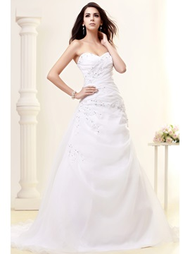 Fantastic A Line Sweetheart Beading Chapel Talines Wedding Dress
