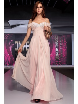 Smart Spaghetti Straps Crystal Ruched Floor Length Evening Dress