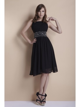 Popular Black A Line Square Neckline Beading Knee Length Elas Cocktail Dress
