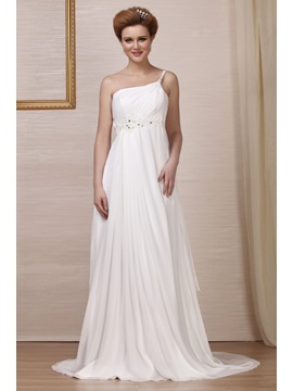 Grand Empire One Shoulder Chapel Bridal Gown