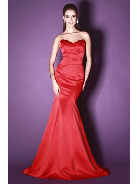 Hot Selling Red Mermaid Sweetheart Floor Length Court Train Sandras Evening Dress