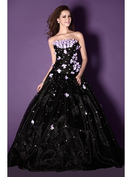 New Style A Line Strapless Floor Length Flowers Sandras Ball Gown Quinceanera Dress