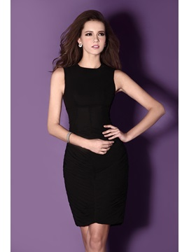 Classic Short Length Sheath Jewel Neck Sandras Cocktail Party Dress