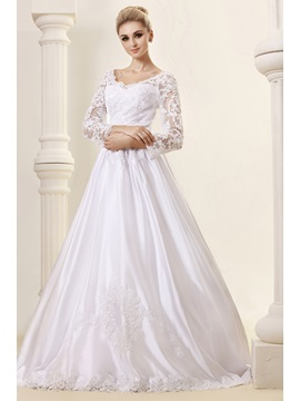 Elegant A Line Long Sleeves Court Train Appliques Lace Dashas Wedding Dress