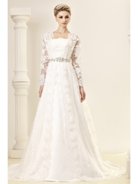 Gorgeous A Line Princess Strapless Chapel Embroidery Dashas Wedding Dress With Jacket Shawl
