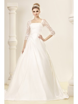 Elegant Half Sleeves A Line Square Dashas Wedding Dress
