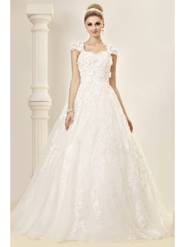 Stunning A Line Princess Floor Length Capped Sleeves Court Lace Dashas Wedding Dress