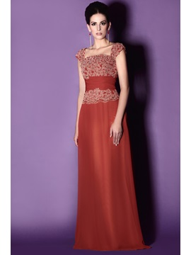 Charming Lace Trimmed Sheath Square Neckline Floor Length Talines Mother Of The Bride Dress